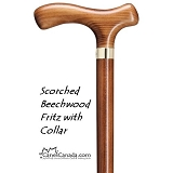 Scorched Beechwood Fritz Cane with Collar
