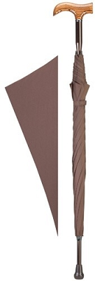 Derby Handle Cane Umbrella - brown
