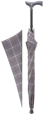 Adjustable Cane Umbrella - Grey/Burgundy Checkered Canopy