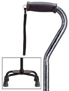 Granite Pattern Adjustable Offset Quad Cane