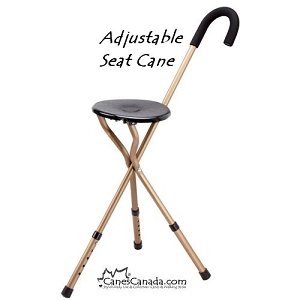 ADJUSTABLE SEAT CANE - Crook Handle