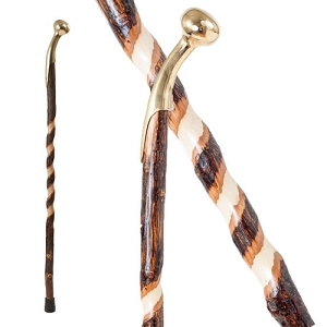 Free Form Twisted Hickory Hame Top Walking Cane