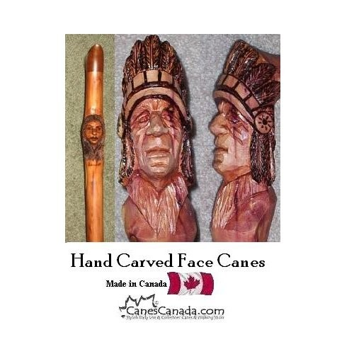 Hand Carved Cane - Faces on Rocky Mountain Juniper