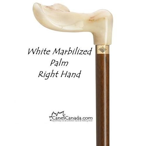White Marbleized Palm Grip Cane - Regular and Tall