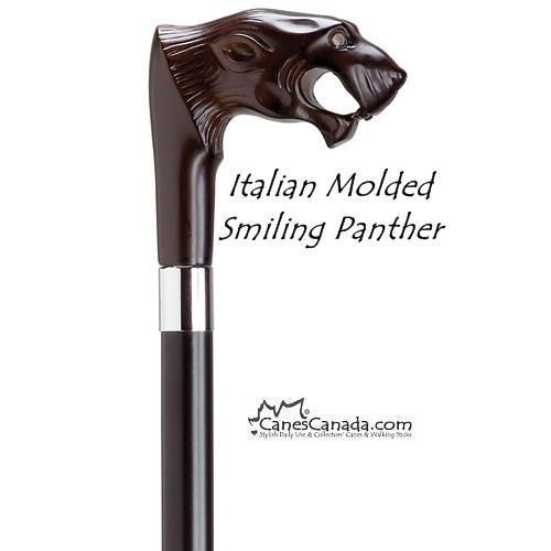 Italian Molded Smiling Panther Cane