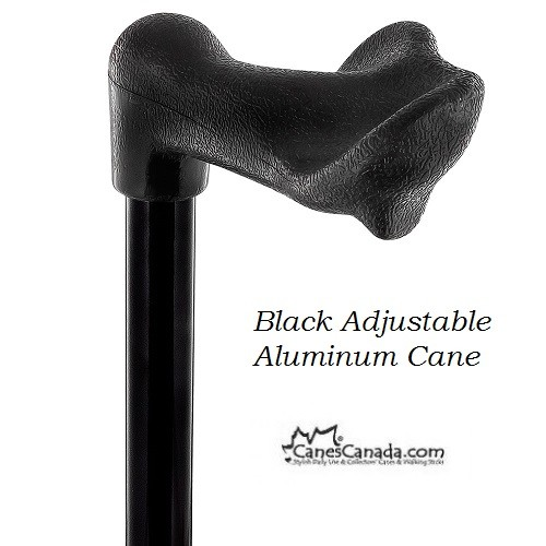 Black Palm Grip Adjustable Aluminum Cane - Non-Folding
