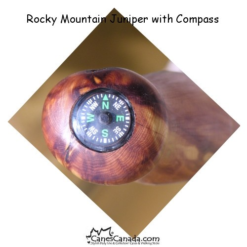 Rocky Mountain Juniper Hiking Stick with Compass