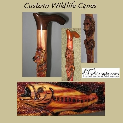 Carved Wildlife Cane - Rocky Mountain Juniper