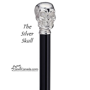Silver or Gold Colored Skull Walking Stick