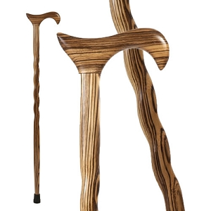Twisted Zebrawood Derby Walking Cane