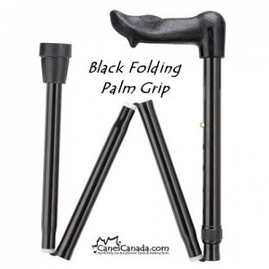 BLACK FOLDING PALM GRIP CANE
