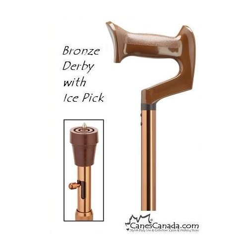 STRAIGHT ADJUSTABLE DERBY CANE w\ ICE PICK